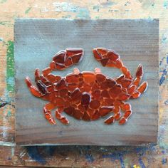 Sea glass art Crab wall hanging Beach glass mosaic by SignsOf