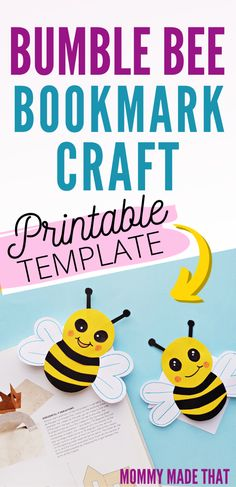 Cute bumble bee craft for kids. Create these cute corner bookmarks using the free bumble bee pattern. Cut out your bees, glue the paper together and viola! Bookmark Craft, Bookmarks Kids, Corner Bookmarks, How To Make Bookmarks, Bees For Kids, Bee Crafts For Kids, Craft Activities For Kids, Preschool Learning, Marker Crafts
