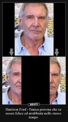 Harrison Ford - lunica persona che sa essere felice ed. Memes Humor, Jokes, Harrison Ford, Italian Memes, Funny Video Memes, Funny Posts, Funny Cute, Funny Images, Haha