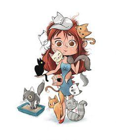 Crazy Cat Lady, Crazy Cats, I Love Cats, Cool Cats, Motifs Art Nouveau, Chat Kawaii, Cute Cat Memes, Cartoon Cartoon, Cat Posters