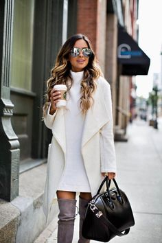 mia mia mine wearing a white sweater coat by cupcakes and cashmere Pastel Outfit, Classy Outfits, Casual Outfits, Fashion Outfits, Women's Casual, Womens Fashion, Fall Winter Outfits, Autumn Winter Fashion, Oversize Look