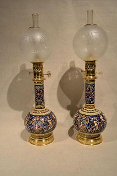 Light Pair In Oil, Gien Earthenware, XIXth