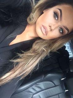 dramatic brown eye + contour + light lips