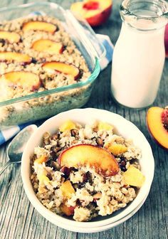 Baked Peach Almond Oatmeal - I've made this twice...I like to add plenty of peaches...very good.