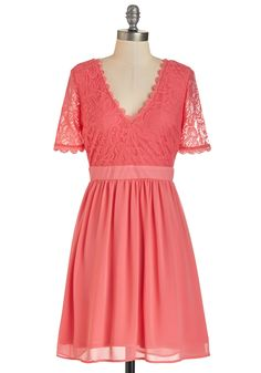 Craft Cocktails Dress in Coral. Your intricate blends of liqueurs are as renowned as your style - like tonights coral lace dress! #coral #modcloth