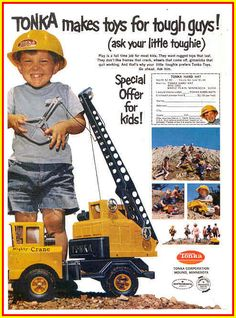 Learn more about the Tonka Makes Toys For Tough Guys! Old Advertisements, Retro Advertising, Cranes For Sale, Tonka Toys, Tough Guy, Old Ads, Toy Trucks, Toy Sale, Classic Toys