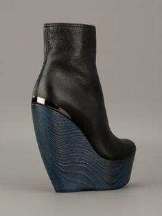 c1f8f685c9e Lanvin Wedge Ankle Boot in Blue (black) Black Wedge Ankle Boots