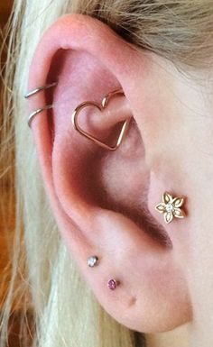 Cute Ear Piercing Ideas - Gold Heart Rook Piercing Jewelry 16G at MyBodiArt.com - Daith Jewelry Earring - Flower Tragus Stud Barbell - Silver Cartilage Ring