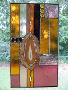 Stained Glass Panel:  Desert SW - Gold Agate #1 --- www.artglassinspired.etsy.com