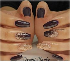 Nails for me - Miladies.net Acrylic Nail Designs, Nail Art Designs, Brown Nail Designs, New Years Nail Designs, Accent Nail Designs, Uñas Color Cafe, How To Do Nails, My Nails, Plum Nails