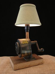 Upcycled Vintage GIANT Pencil Sharpener Lamp by BenclifDesigns