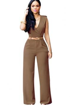 12b3098b32c  AdoreWe  Twinkledeals -  TwinkleDeals V-Neck Women s High Waist with Belt  Jumpsuit