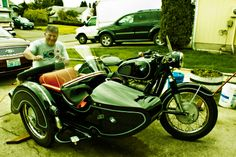 Rob detailing his vintage restored sidecar rig..