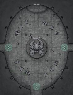 """venatusmaps: """"Commissioned battle map of the interior of an abandoned temple dedicated to a mysterious deity of forging and craft. Dungeon Room, Dungeon Tiles, Dungeon Maps, Fantasy City Map, Fantasy World Map, Dungeons And Dragons Homebrew, D&d Dungeons And Dragons, Vintage Maps, Antique Maps"""