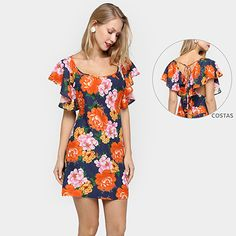 Vestido Farm Babado Cruzado Costas - Azul+Vermelho Simple Dresses, Casual Dresses, Short Sleeve Dresses, Maxi Dresses, Casual Summer Outfits, Casual Wear, Vestidos Farm, Trendy Fashion, Womens Fashion