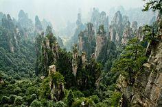 Awesome karst topography.  Zhangjiajie National Forest Park