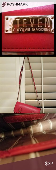 Steve Madden Steve Madden dark pink purse they are some markings on back of purse near the Steve Madden hold sign the camera is not picking the up. Steve Madden Bags Crossbody Bags