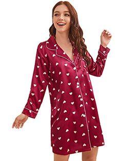 Floerns Women's Notch Collar Long Sleeve Satin Sleepwear Pajama Floerns Satin Material, Spandex Material, Satin Sleepwear, Heart Print, 15 Dresses, Satin Fabric, Pajamas, Leather Jacket, Blouse