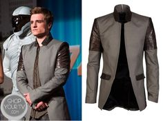 Shop Your Tv: Catching Fire: Peeta's Grey and Leather Patch Blazer