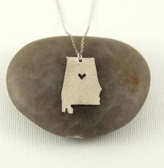 Silver Alabama State Necklace  I Heart by jomariejewelry on Etsy