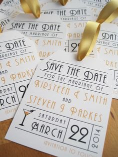 Vintage Love Save the Dates in ivory and gold with an art deco style font and added cocktail glass.