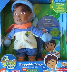 """Go Diego Go! HUGGABLE DIEGO Doll & GAME Download TARGET Exclusive (2006 Fisher-Price Mattel Canada) by Nick Jr/Viacom, Fisher-Price, Mattel. $74.99. For Ages 2+ Years. Surface Washable. All the provided details are to the best of my ability & may not be exact; colors, styles, sizes & details may vary.. INCLUDES: Diego Doll approx. 12"""" tall, Outfit, & a Nick Arcade Computer Game Download ($20.00 Value). Sorry I am not sure if Coupon is still active due to age of pro..."""