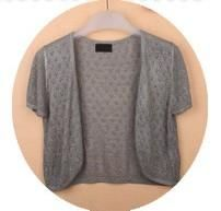 Summer Women V-Neck Knitted Casual Loose Short Sleeve Sweaters Cardigans Open Stitch Outwear