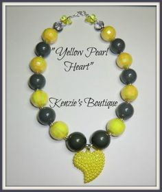 """Yellow Pearl Heart"" Chunky Beaded Necklace, Photo Prop, Child, Adult"