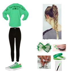 """""""St. Patrick's Day// Entry #2"""" by jkeyondrea ❤ liked on Polyvore featuring Mixit, Converse, River Island and Lime Crime"""