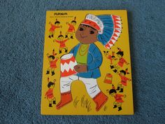 Vintage Playskool Ten Little Indians Wooden Puzzle 1960s - I used to put this one together...over and over again.
