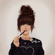 Girly _m Illustration Girl M, Girly Girl, Art Girl, Tumblr Drawings, Girly Drawings, Tumblr Gril, Girly M Instagram, Sarra Art, Chica Cool