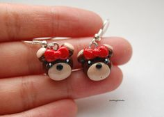 polymer clay bears | Girly Bear Earrings Polymer Clay Silver Plated by Puddingfishcakes
