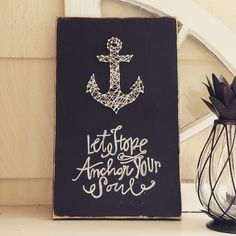 """Hebrews 6:19 has been a theme of mine this year. This String Art Anchor on reclaimed wood is approx 16"""" tall and 10"""" wide. The picture is of the original art work, any orders will be custom made from"""