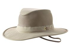 This Tilley hat has a more broad, downward-sloping brim with an all-mesh crown that provides great ventilation and breathability. It is crushable and packable making traveling easier and more convenient anywhere you go. It provides UPF 50+ protection and repels rain. Hand wash. This special order hat can takes up to 3-4 days to ship.