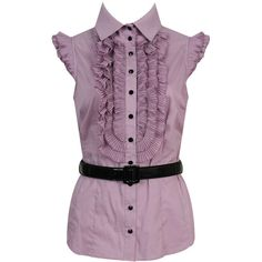 Jenni Belted Blouse (190 MAD) ❤ liked on Polyvore featuring tops, blouses, shirts, apparel, camiseta, purple shirt, ruffled shirts blouses, purple chiffon blouse, button shirt and chiffon tops