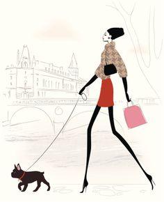 woman walking dog illustration - Google Search