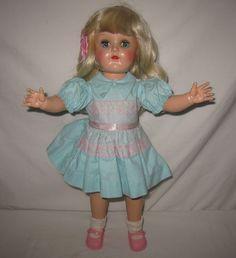 "1950's Ideal 16"" HP Platinum Blonde Toni Doll in Tagged Dress P 91 ML168   eBay"