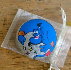 Disney Aladdin Genie. Painted pebble. Painted stone. By UK Artist