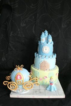For my granddaughter's 5th birthday I found this tutorial really helpful for making the carriage if you are interested – although I used RKT rather than cake here – http://www.cake-talk.co.uk/blog/cinderellas-coach-cake-tutorial/ Tiers were bottom...
