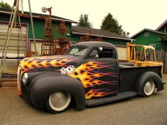 Hot Rod Truck in Flames
