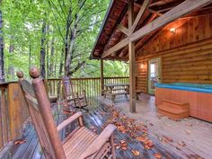 Private porch surrounded by woods, Gatlinburg cabins on VRBO Smokey Mountain Cabins, Smoky Mountain Cabin Rentals, Wears Valley Cabin Rentals, Cabin Rentals In Tennessee, Secluded Cabin, Luxury Cabin, Getaway Cabins, Gatlinburg Cabins, Mountain Vacations
