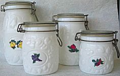 Wheaton White Milk Glass Canisters Vintage 4 Piece Set. Click on the image for more information. Vintage Canisters, Glass Canisters, Milk Glass, Colored Glass, Depression, Glass Art, Shapes, Image, Coloured Glass