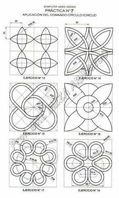 Thinking creative drawing - AutoCAD - Geometric Drawing, Mandala Drawing, Mandala Art, Geometric Shapes, Geometric Patterns, Math Art, Geometry Art, Cad Drawing, Celtic Art