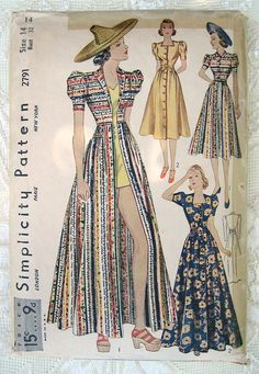 Vintage 30s Day, Sun or Beach Dress. Simplicity Sewing Pattern 2791, Puff Sleeves  Size 14 by sewvintagefashion on Etsy https://www.etsy.com/listing/189879314/vintage-30s-day-sun-or-beach-dress
