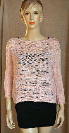 Sweet Pink Little Sweater Knitting by CasadeAngelaCrochet on Etsy
