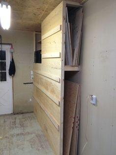 multipurpose storage. french cleat rack system and scrap wood storage