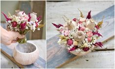 Dried flowers bouquet perfectly fits coconut shell. Dried Flower Bouquet, Dried Flowers, Coconut Shell, Table Decorations, Ideas, Home Decor, Dekoration, Flower Preservation, Decoration Home