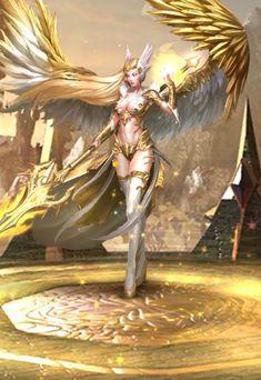 Fantasy Girl, Fantasy Warrior, Dark Fantasy, Anime Kunst, Anime Art, Fantasy Character Design, Character Art, Angel Artwork, Angel Warrior