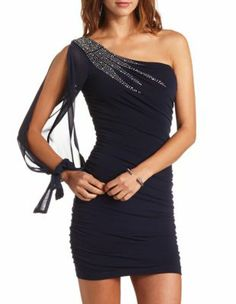 b37bba3ba9c93 Ruched One Shoulder Body-Con Dress-Charlotte Russe American Dress
