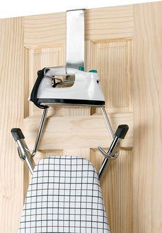 Polder Over The Door Ironing Board Hanger Holder T-Leg Ironing Board Chrome New Ironing Board Hanger, Ironing Board Storage, Closet Door Storage, Ironing Station, Linen Closet Organization, Ironing Boards, Kitchen Organisation, Closet Doors, Small Linen Closets